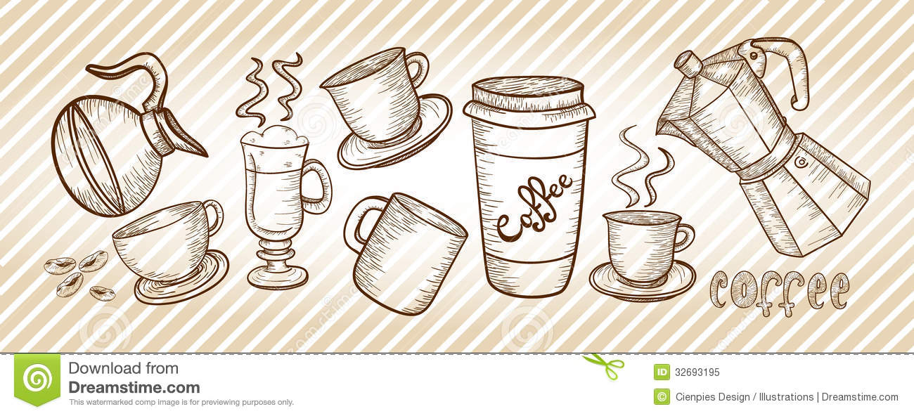 Coffee Set Drawing Stock Vector Illustration Of Cafe
