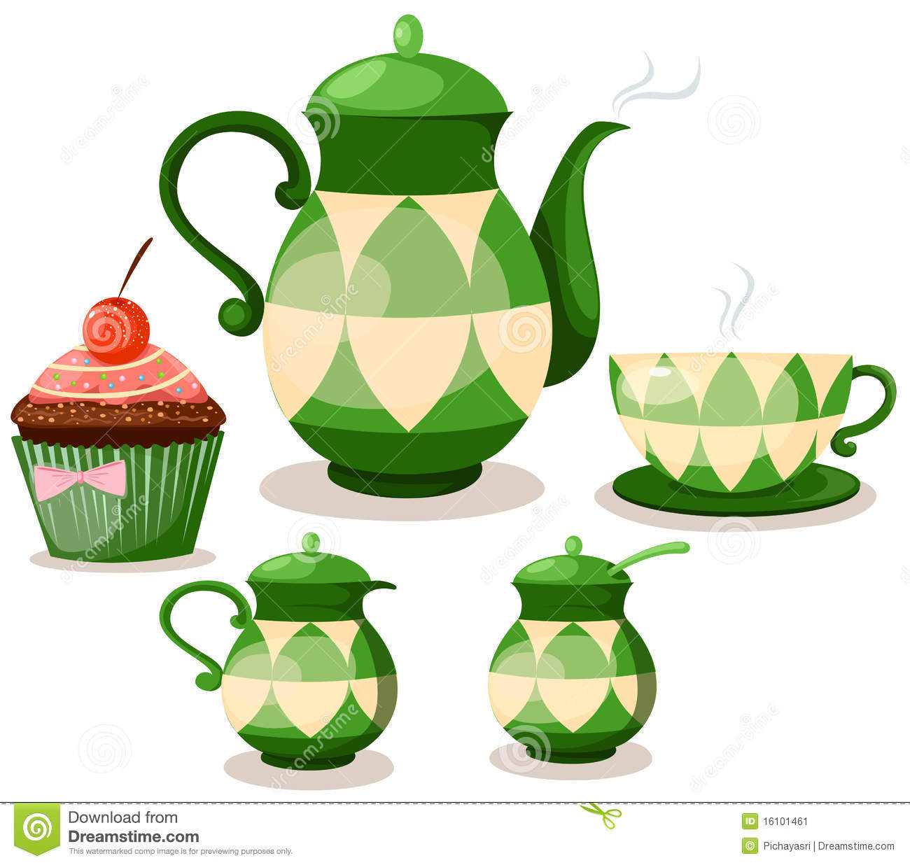 Coffee Set Or Tea Set And Cup Cake Stock Image Image