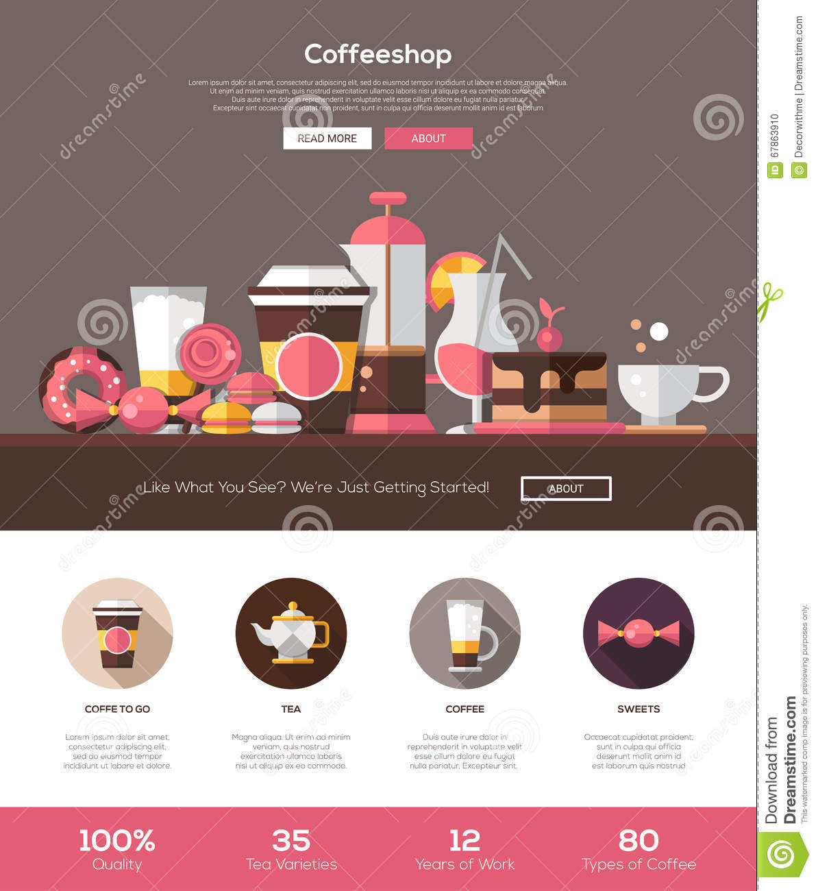coffee shop cafe bakery website template with header and icons stock vector image 67863910. Black Bedroom Furniture Sets. Home Design Ideas