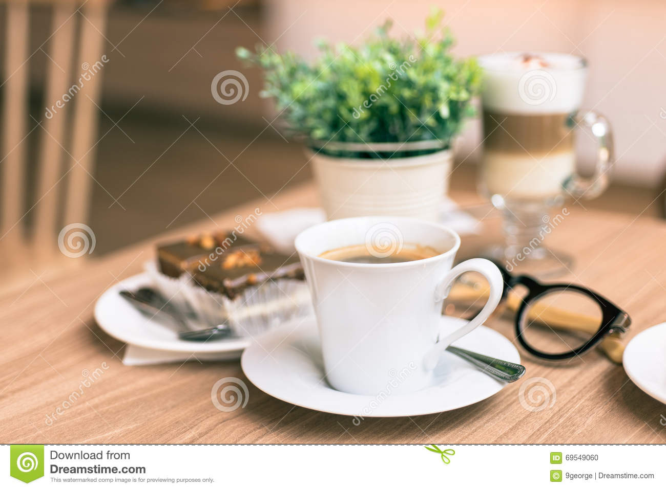 Coffee Shop Cafe Interior With Table Stock Photo 72984114