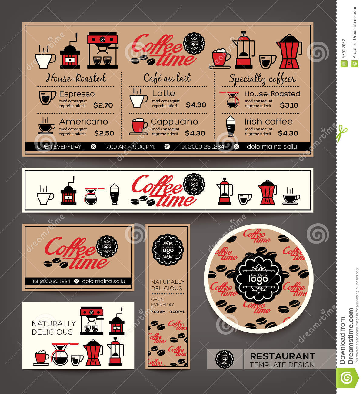 Coffee Shop Cafe Set Menu Design Template Stock Vector