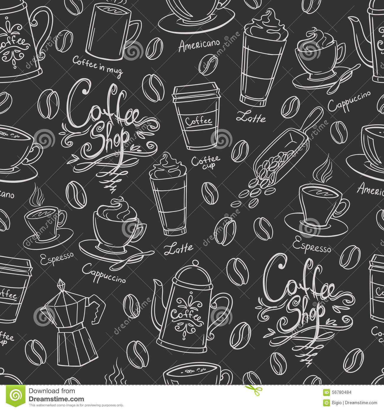 Coffee Shop Design Seamless Pattern. Stock Vector - Image ...