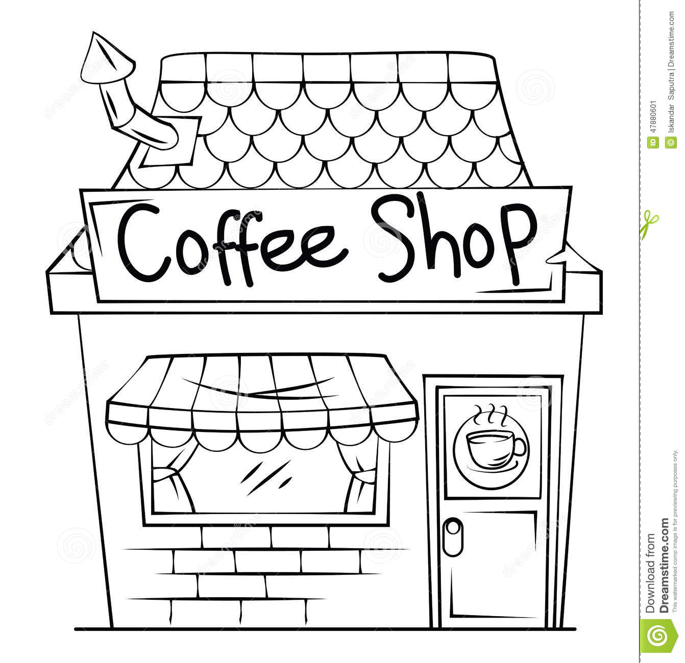 Coffee shop stock vector illustration of illustration Coloring book cafe