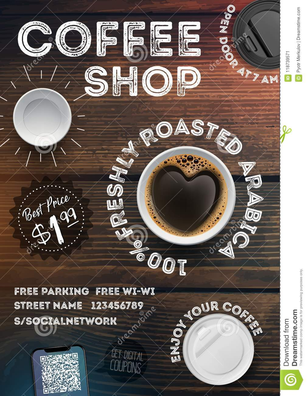 Coffee Shop Flyer Template On Vintage Wood Texture Background Advertising Invitation In Brochures Posters Banner Leaflet Stock Vector Illustration Of Interior Beverage 118739571