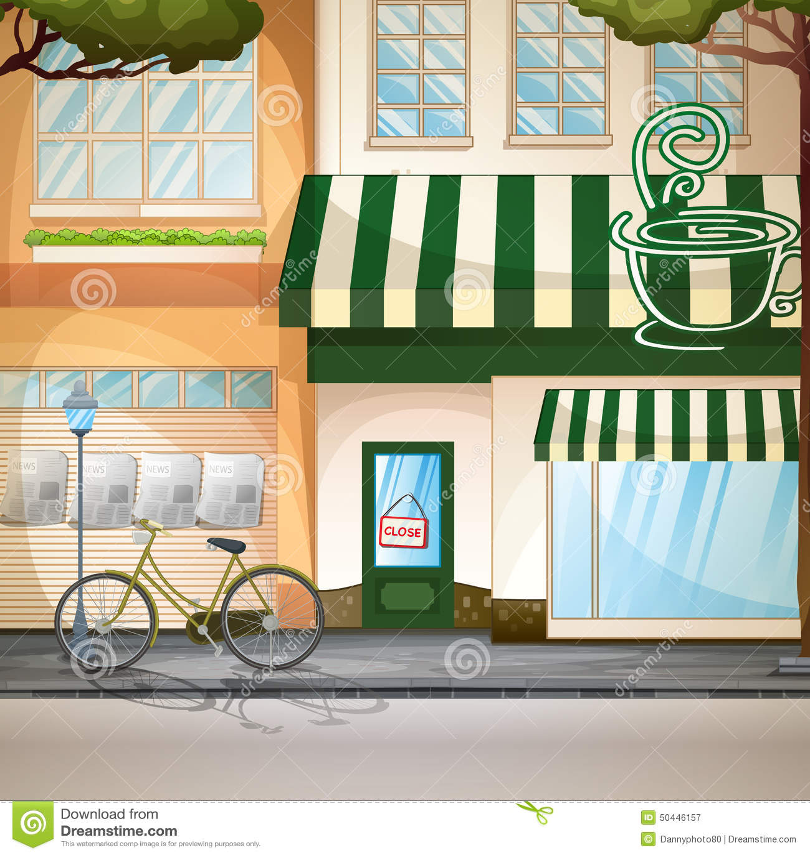 Scenery Sidewalk Cafe. Stock Image