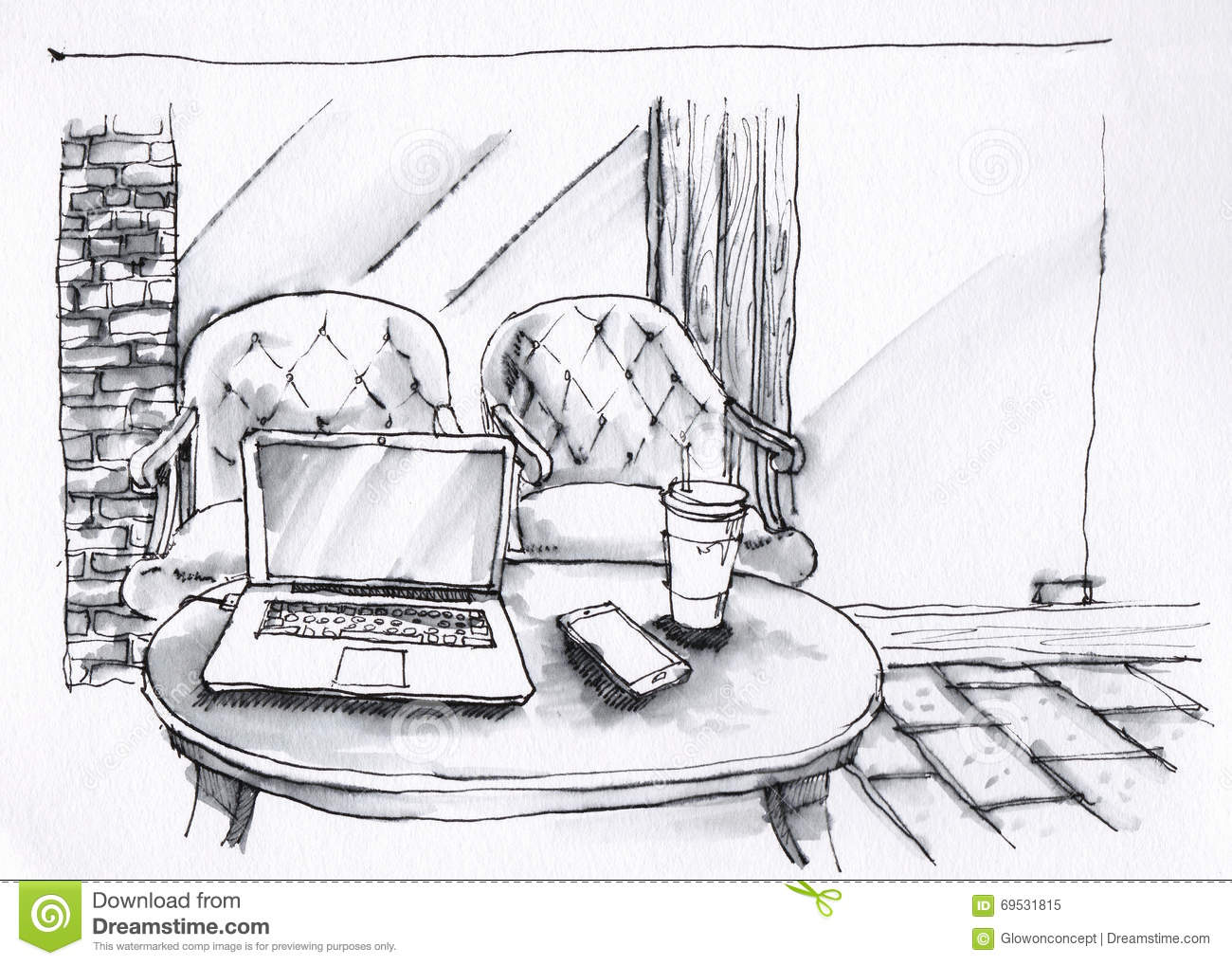 Drowings Imags: Coffee Shop Interior Black And White Illustration Stock