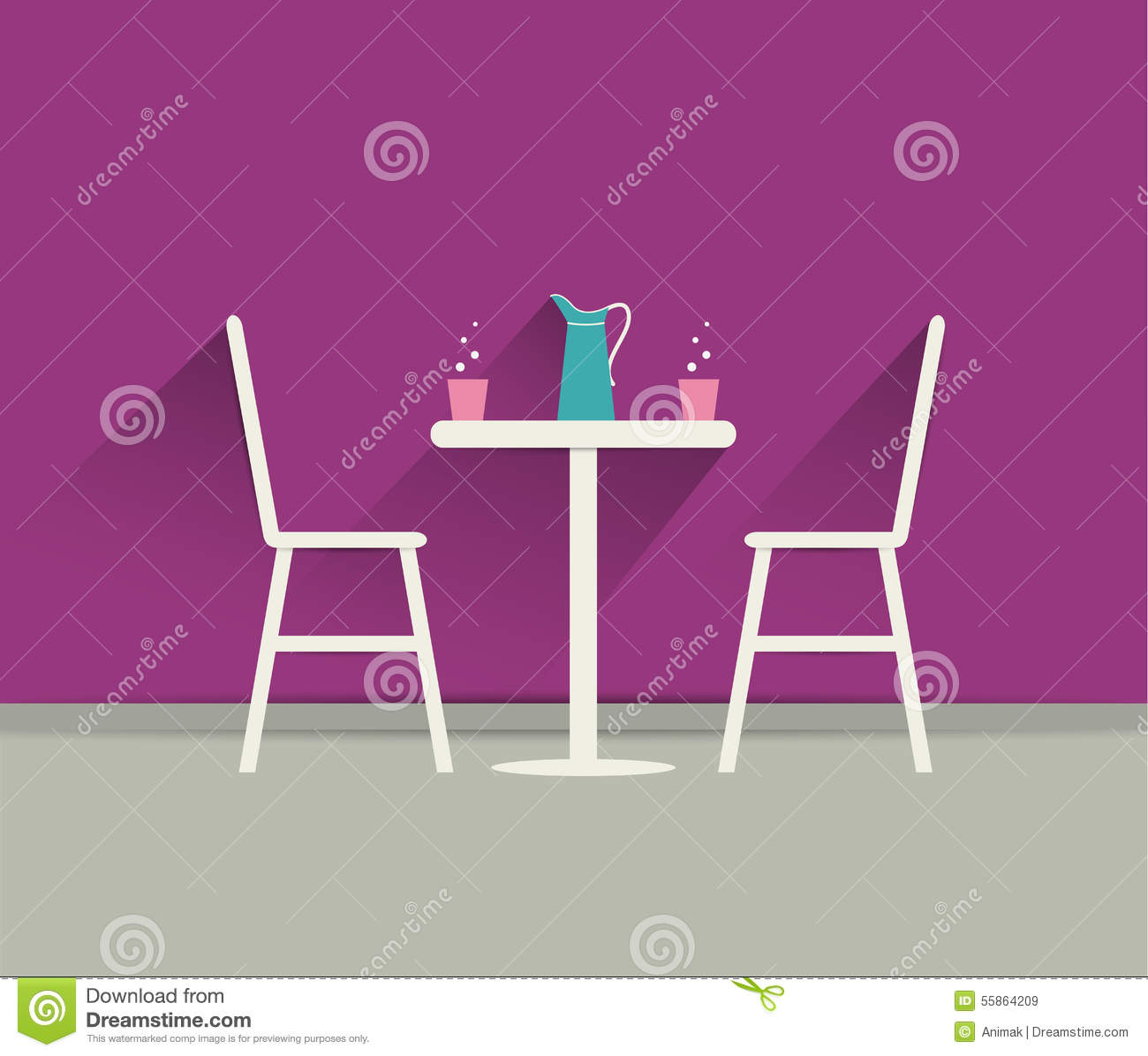 Coffee shop interior chairs and table stock vector for Table flat design