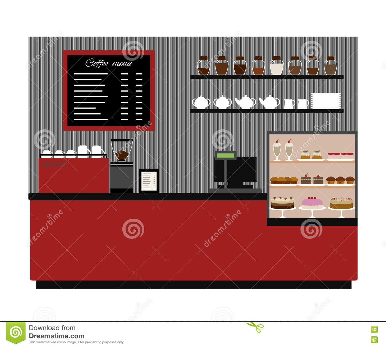 Coffee Shop Interior Black And White Illustration Royalty