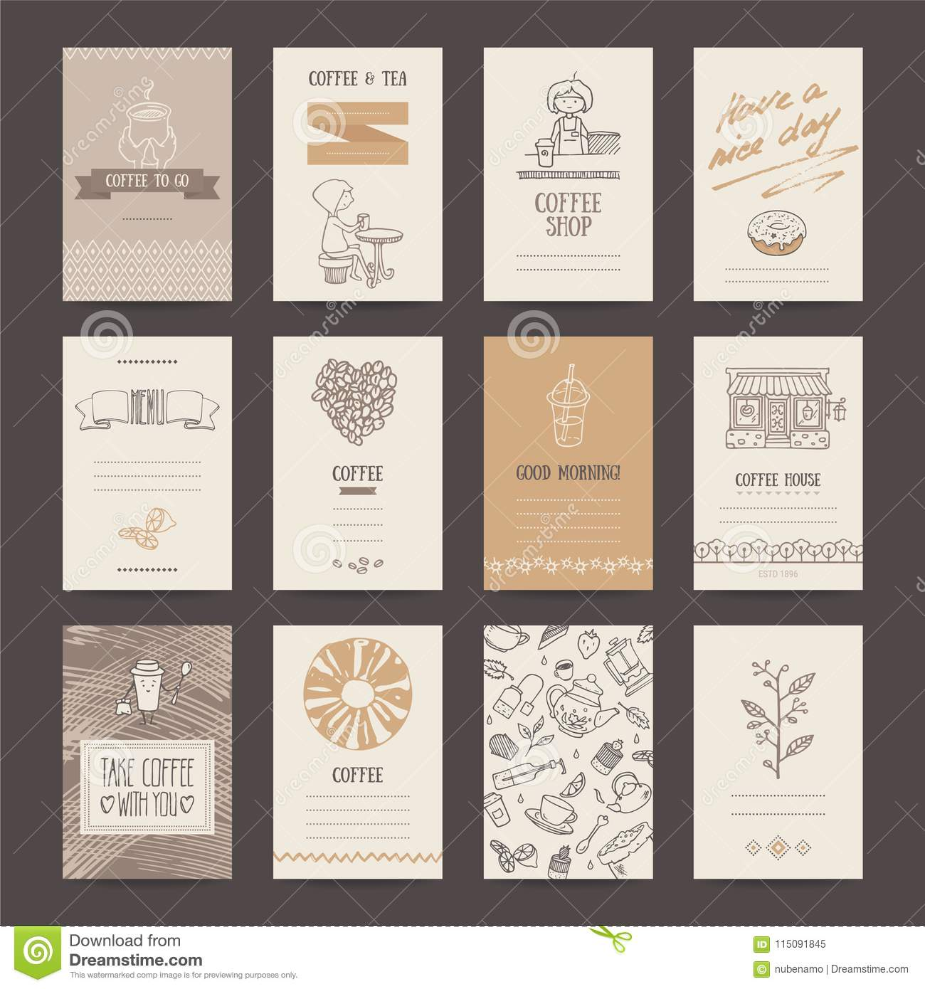 Coffee Shop Business Card Flyer Menu Template Stock Vector