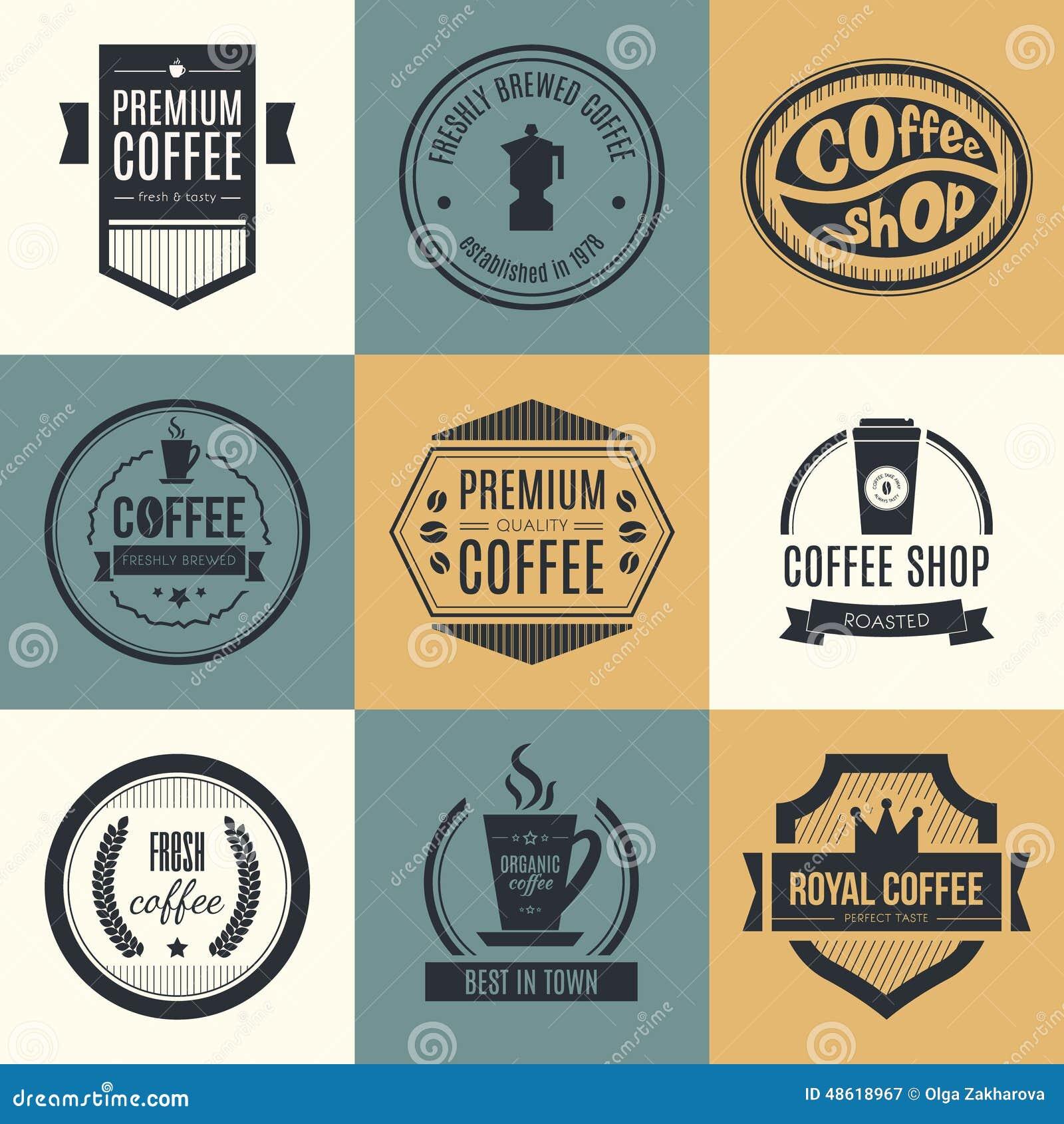 Coffee Shop Logo Collection Bean Round