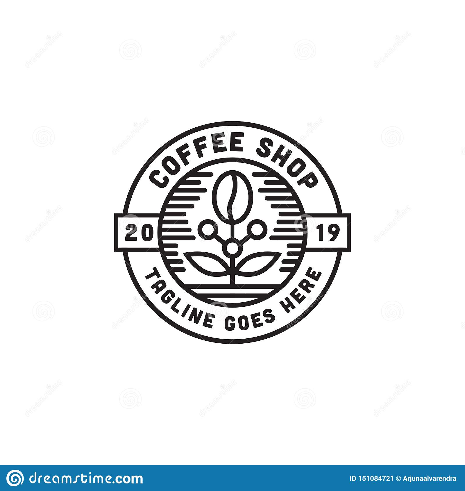 Coffee Shop Logo Design Inspiration With Line Art Vector Stock Illustration Illustration Of Concept Espresso 151084721