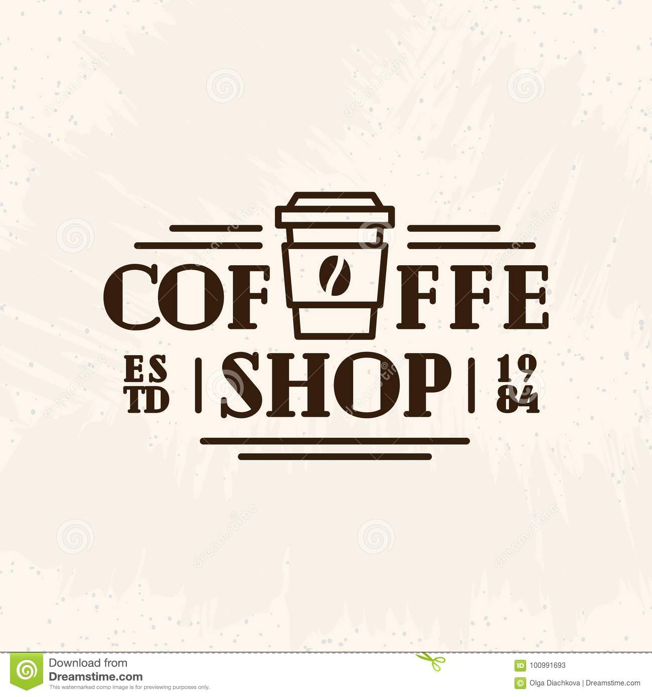 coffee shop logo with paper cup of coffee black color line style