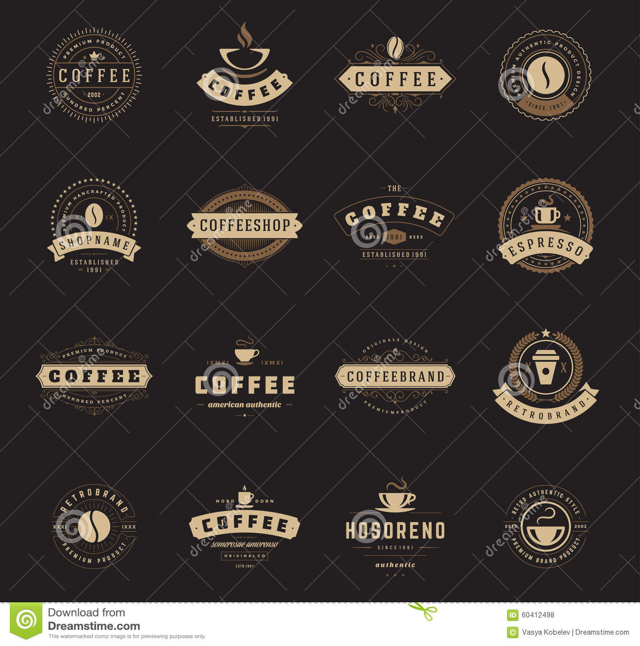 Coffee Shop Logos, Badges And Labels Design Stock Vector ...
