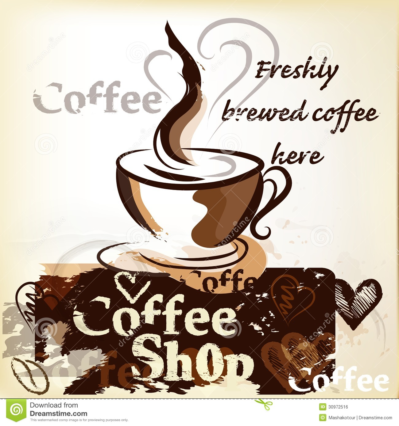 Coffee Shop Poster In Grunge Vintage Style With Cup Of ...