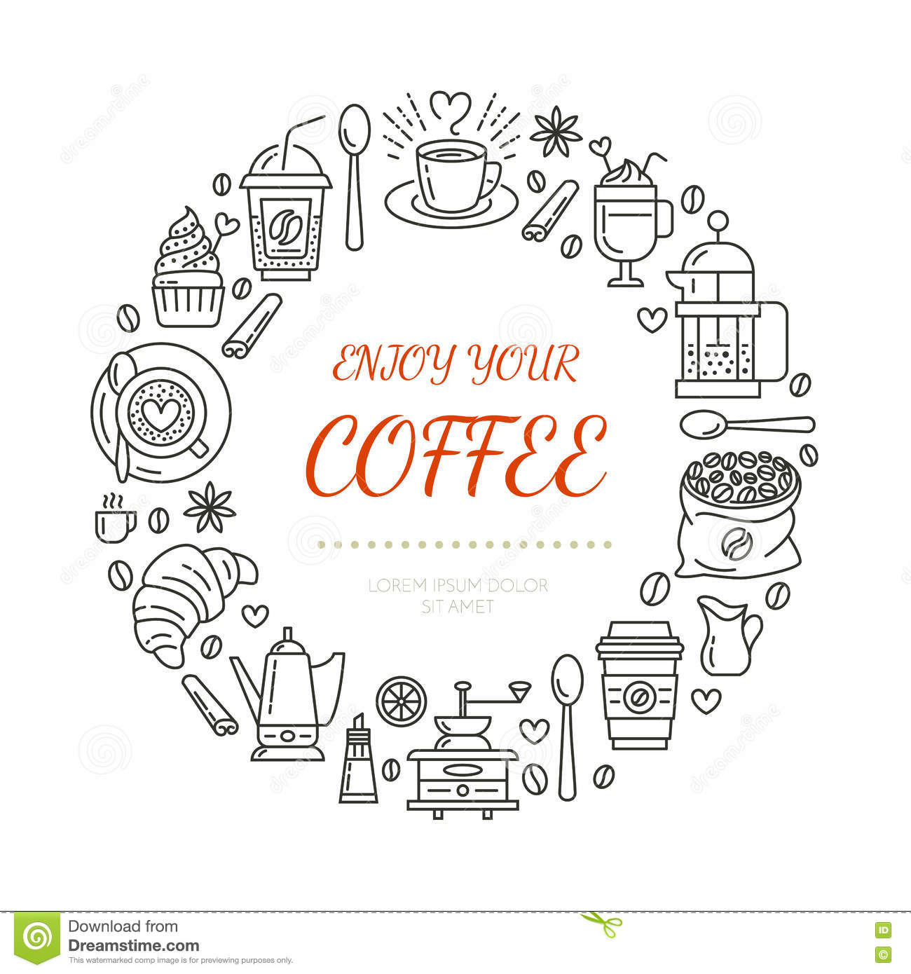 Coffee Shop Poster Template. Vector Line Illustration Of
