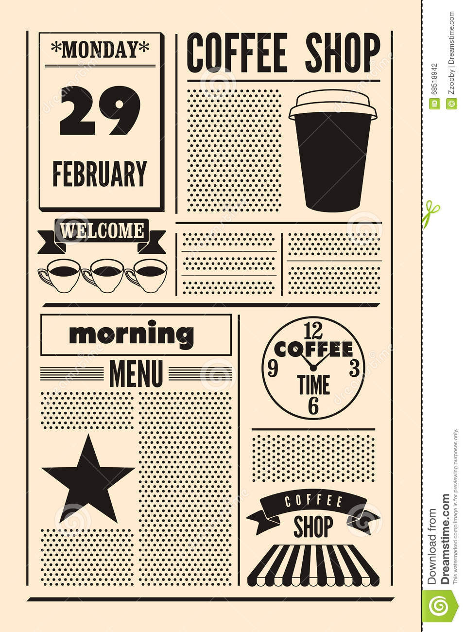 coffee shop typographical vintage newspaper style poster