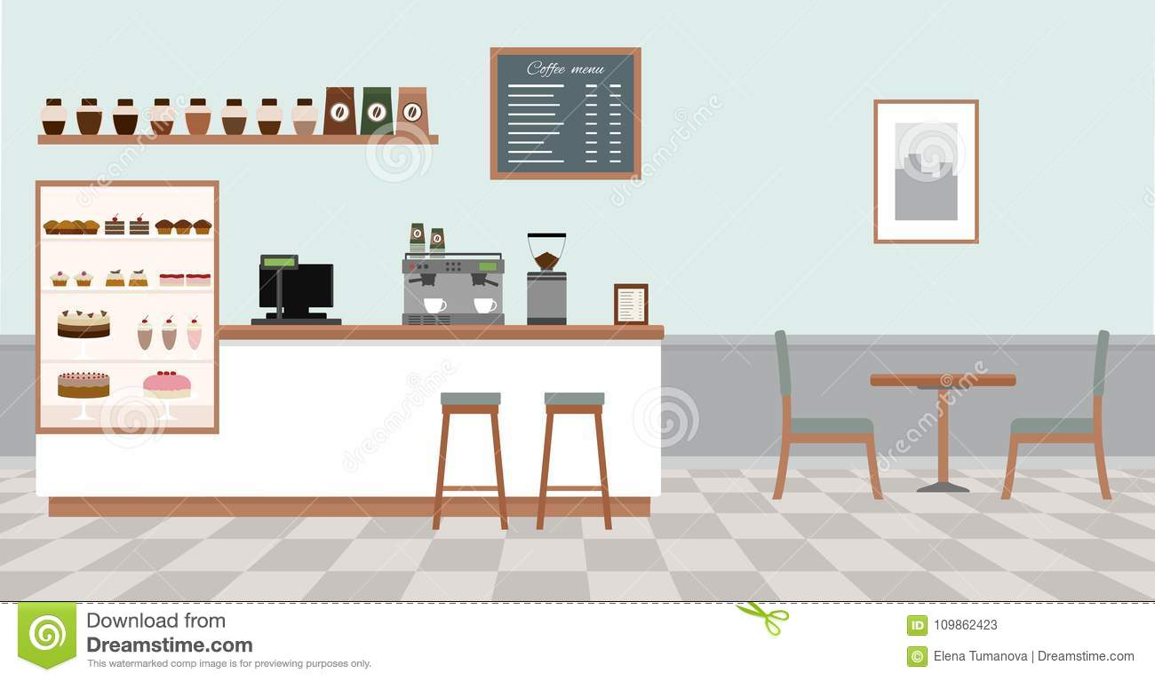 Coffee Shop With White Bar Counter Table And Chairs Stock Vector