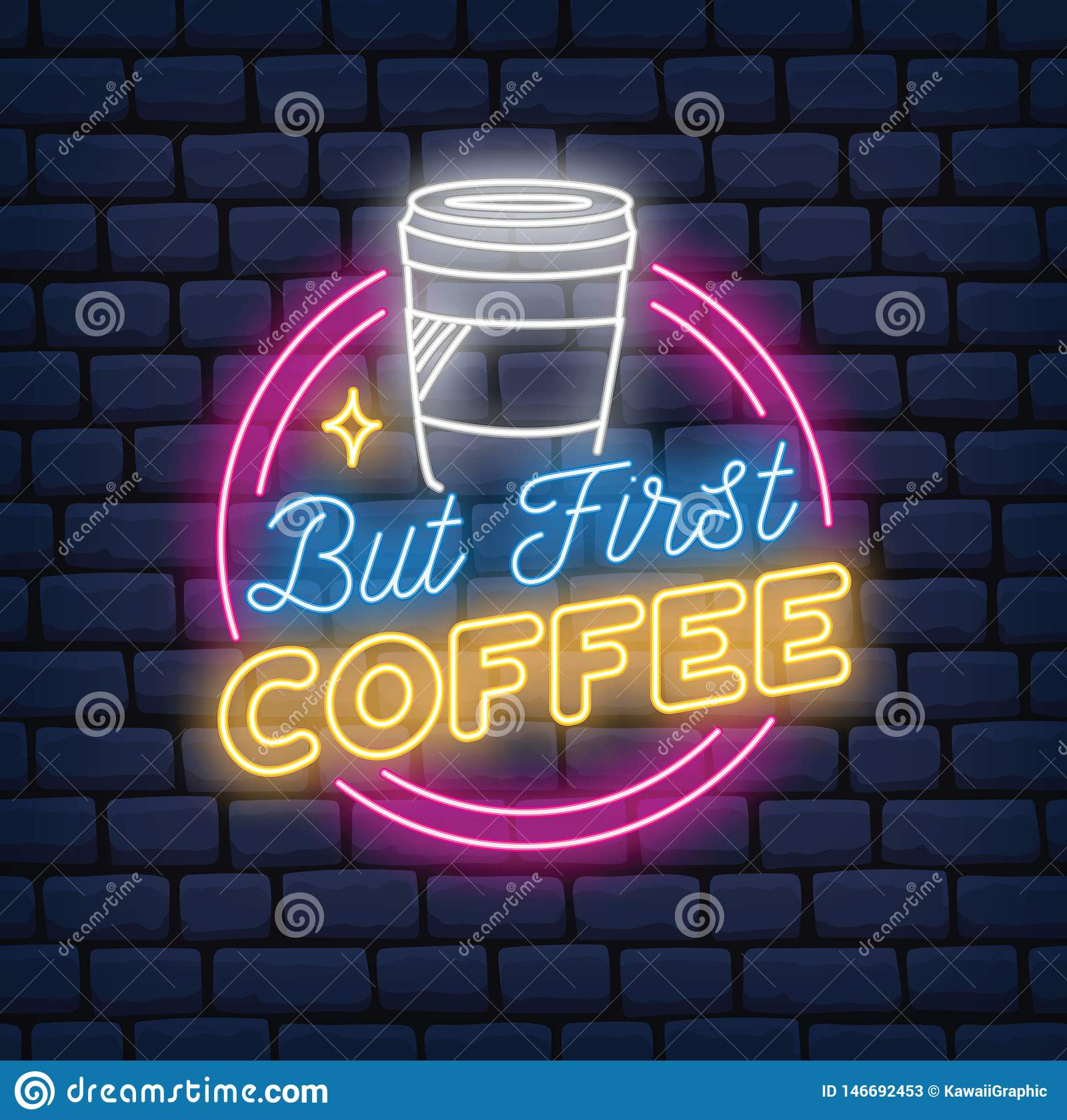 Coffee shopneontecken på tegelstenbakgrund