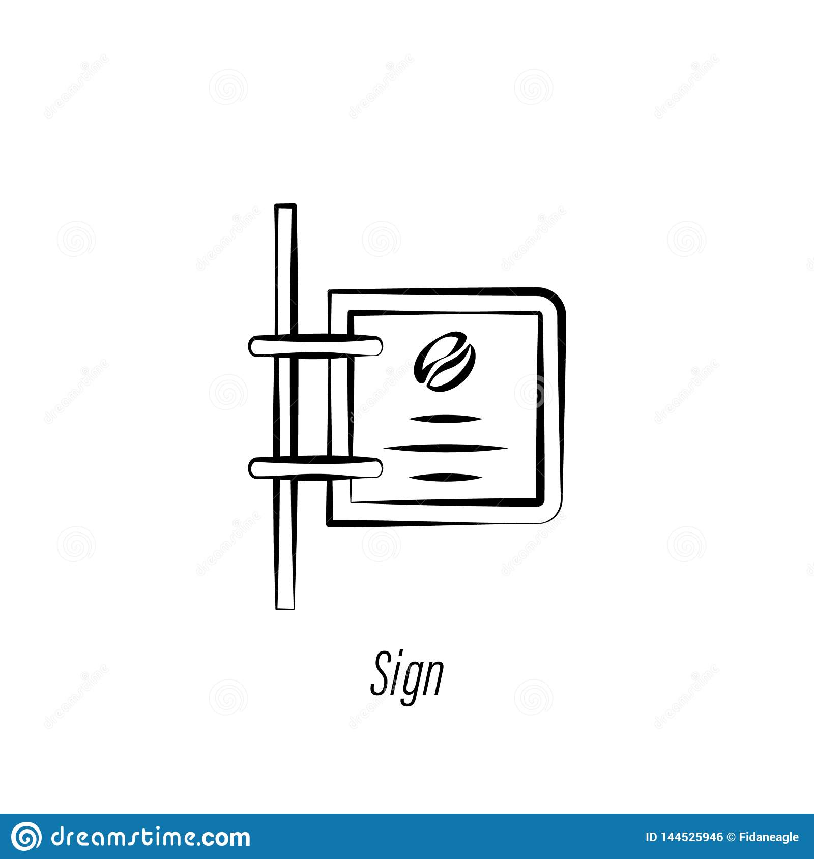 Coffee sign hand draw icon. Element of coffee illustration icon. Signs and symbols can be used for web, logo, mobile app, UI, UX