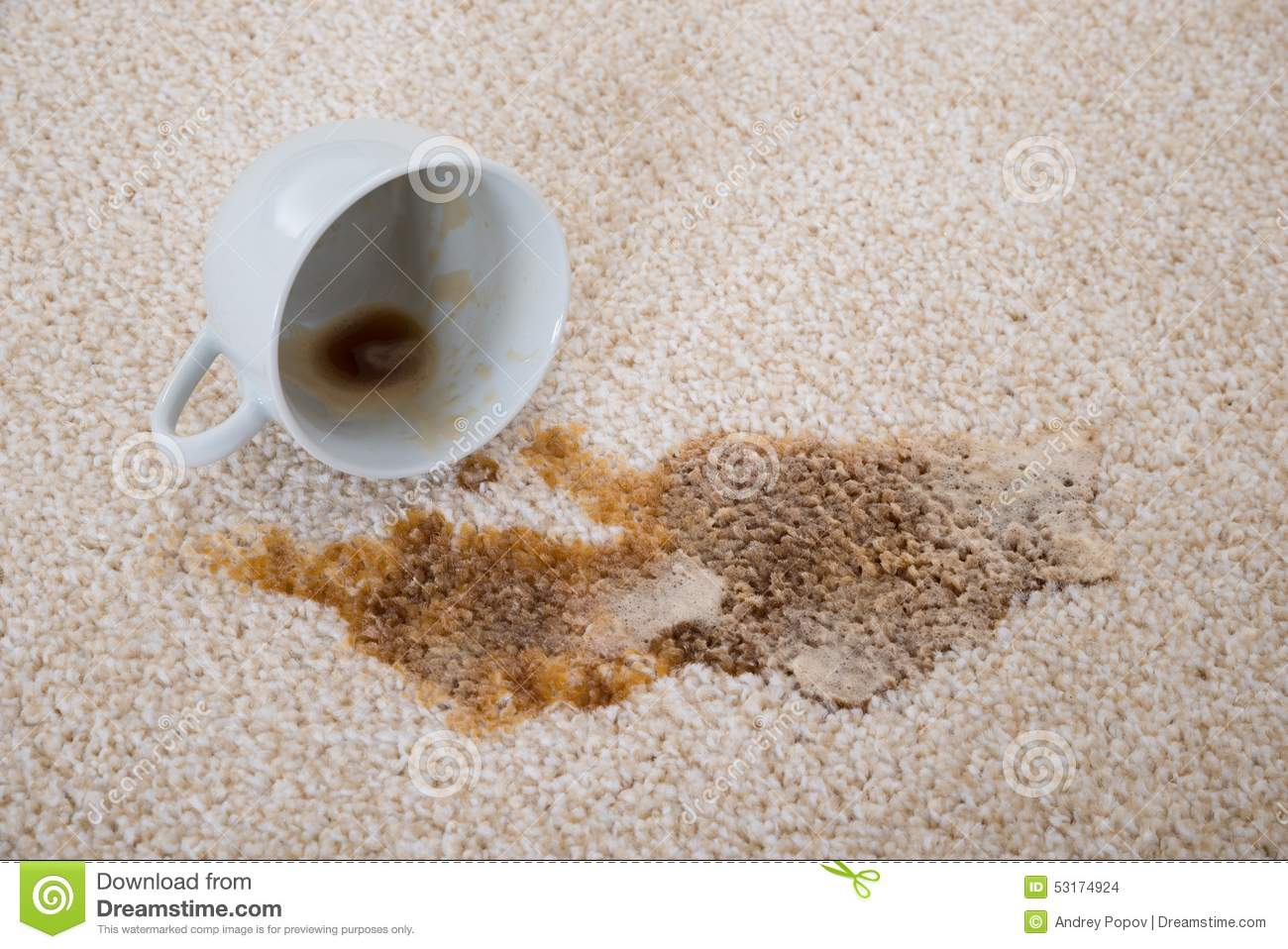 Coffee Spilling On Carpet Stock Photo Image 53174924