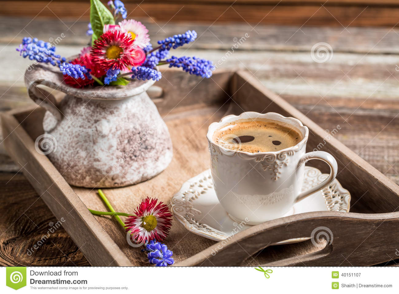 Coffee And Spring Flowers For Breakfast Stock Photo