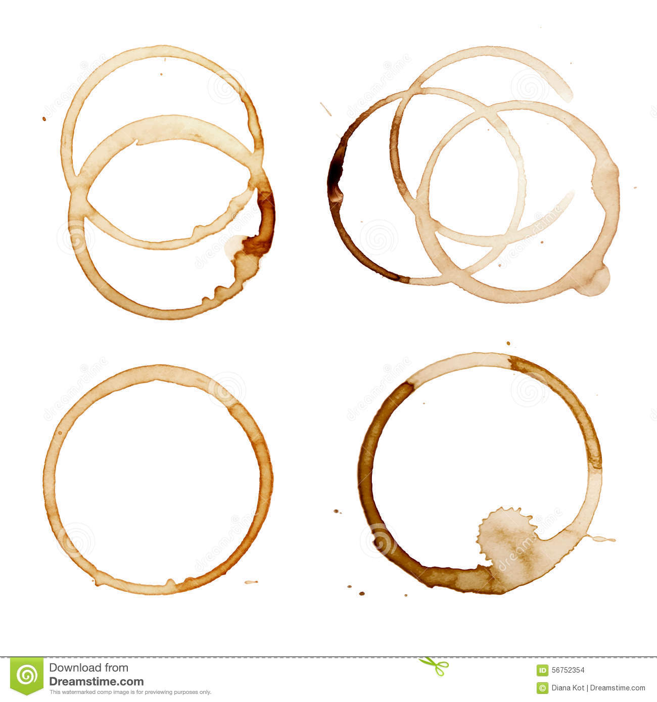 Coffee Stain Rings Vector Stock Vector - Image: 56752354