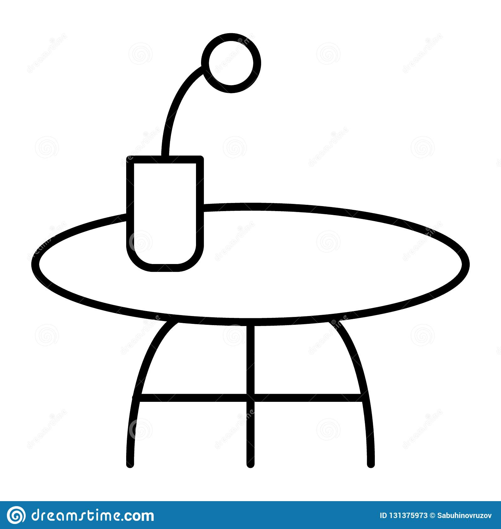 Coffee Table Thin Line Icon Small Table With Flower Vector