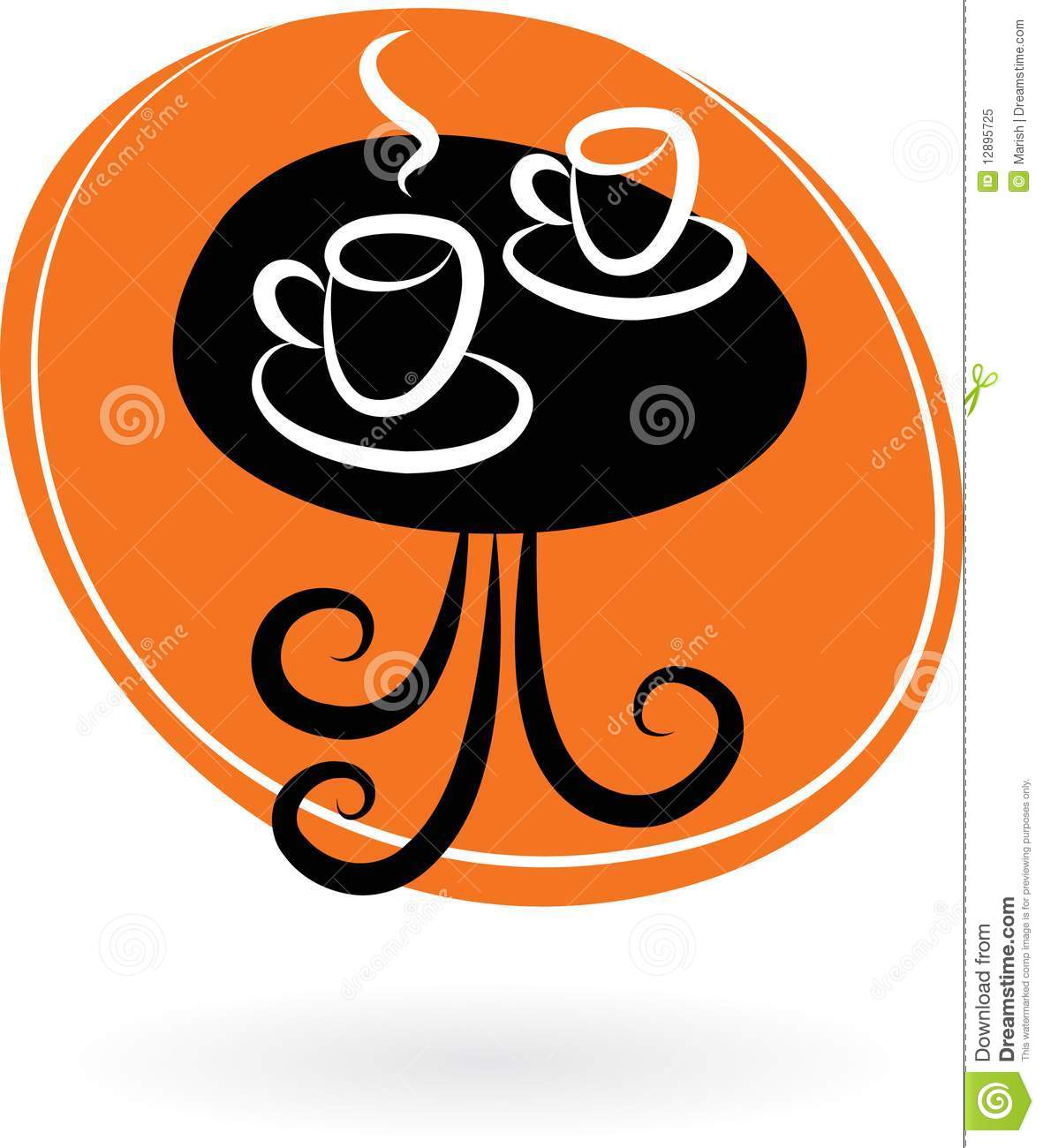 Coffee table with two cups cafe logo royalty free stock for Table table logo