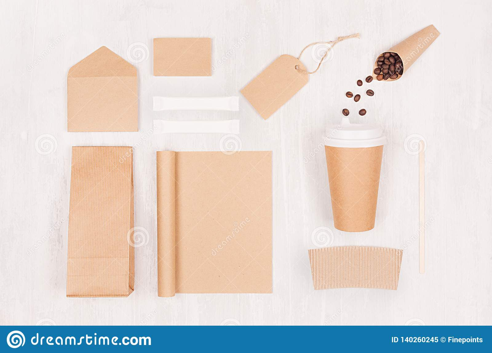 Coffee takeaway set mockup for brand - brown paper cup, blank notebook, packet, label, stationery, coffee beans, sugar on wood.