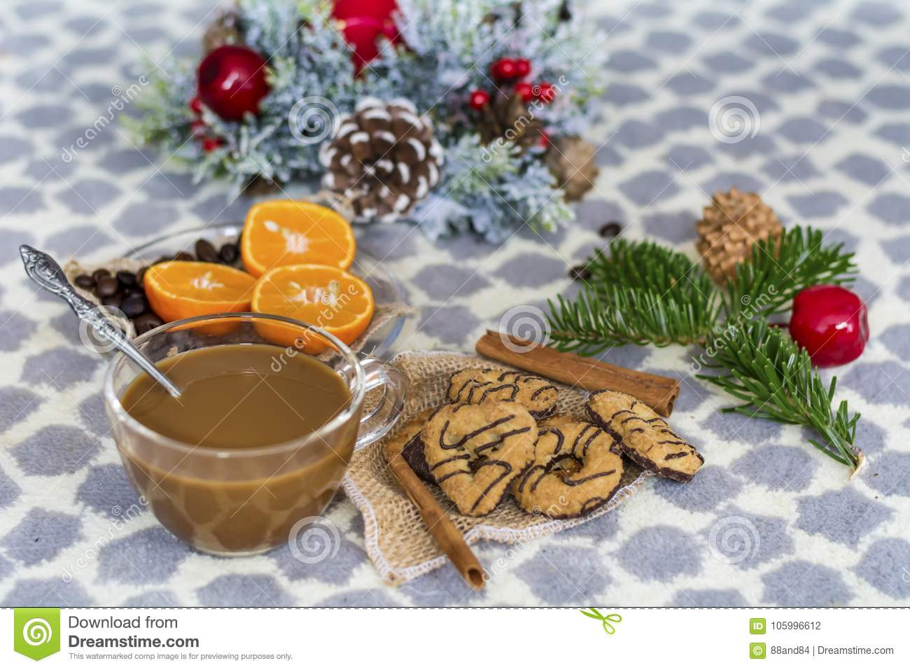 Coffee And Assorted Cookies For Christmas Stock Photo Image Of