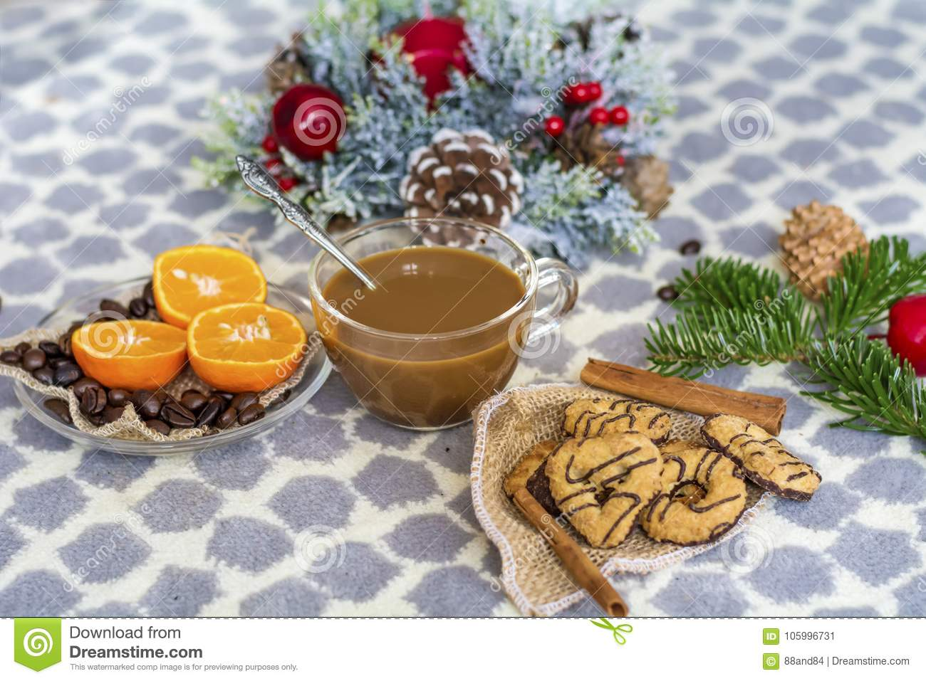 Coffee And Assorted Cookies For Christmas Stock Image Image Of