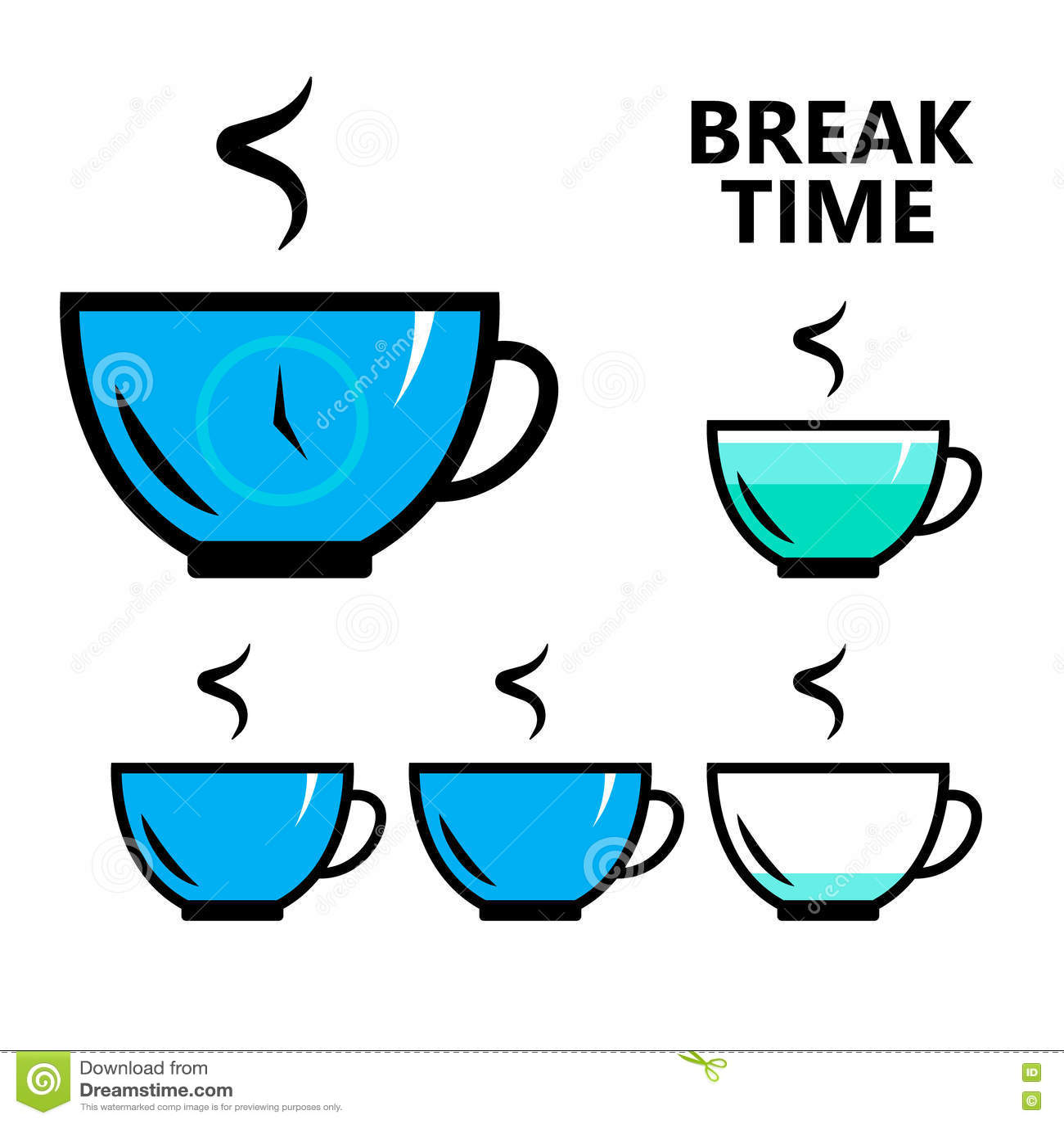 Coffee Tea Break Time Sign Isolated Flat Vector Illustration Stock