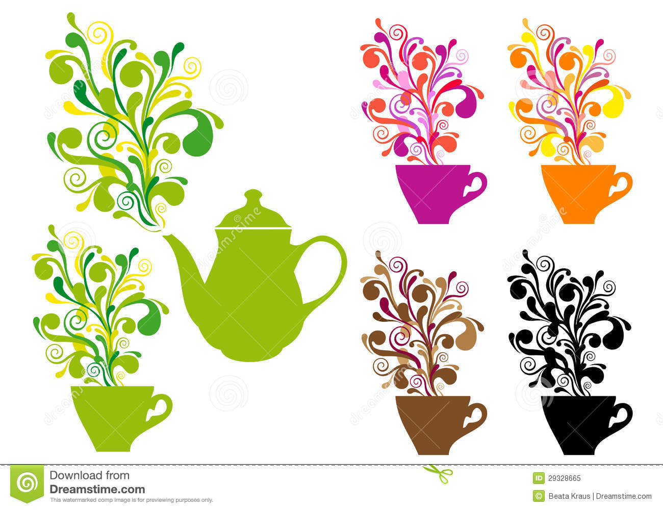 Coffee And Tea With Color Swirls Vector Set Royalty Free Stock Photo  Image: 29328665 - Eiffel Tower Floor Plan
