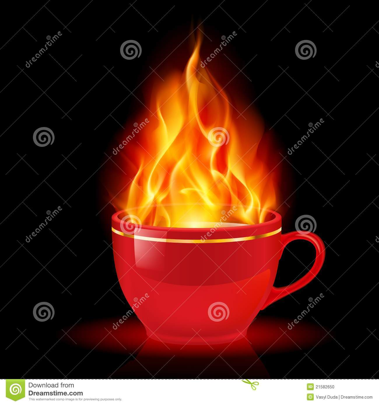 Coffee Or Tea Cup With Fire Stock Photo - Image: 21582650