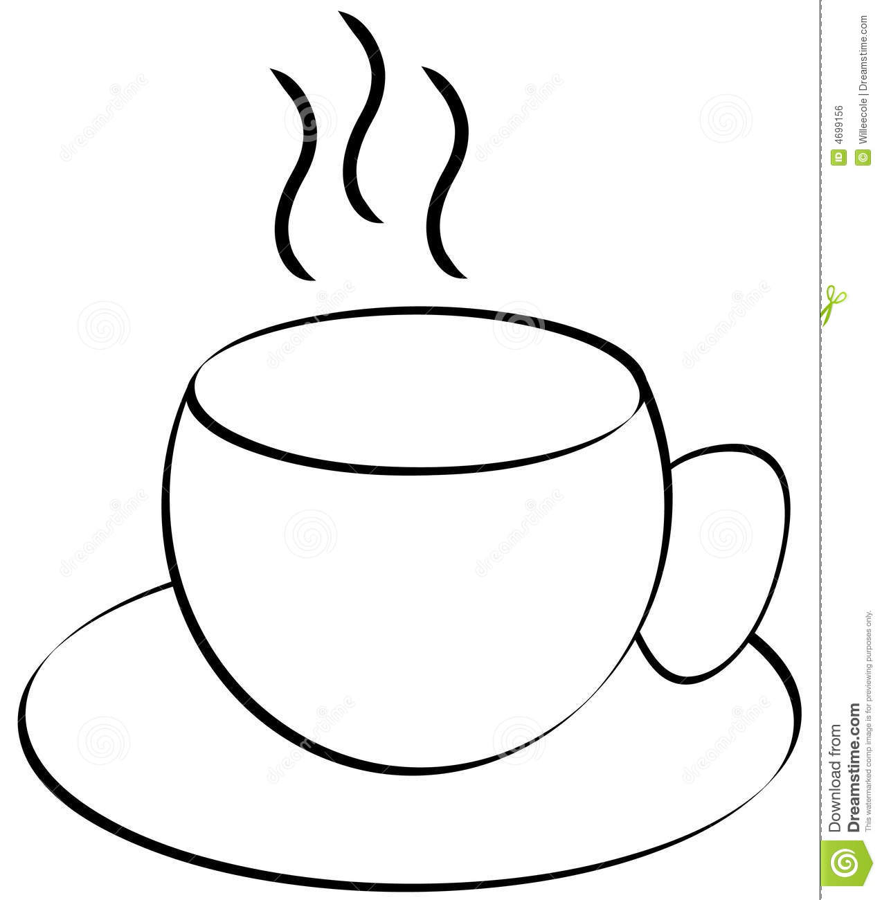 Coffee Or Tea Cup Outline Stock Vector Illustration Of Cafe 4699156