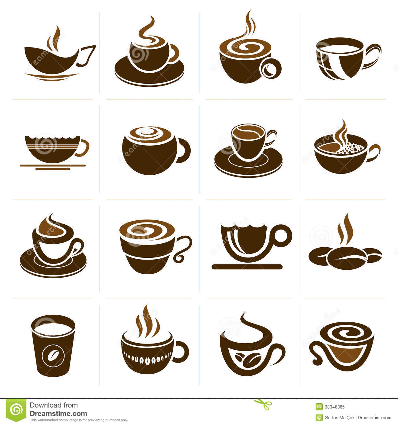 Coffee And Tea Cup Set Icon Collection Royalty Free