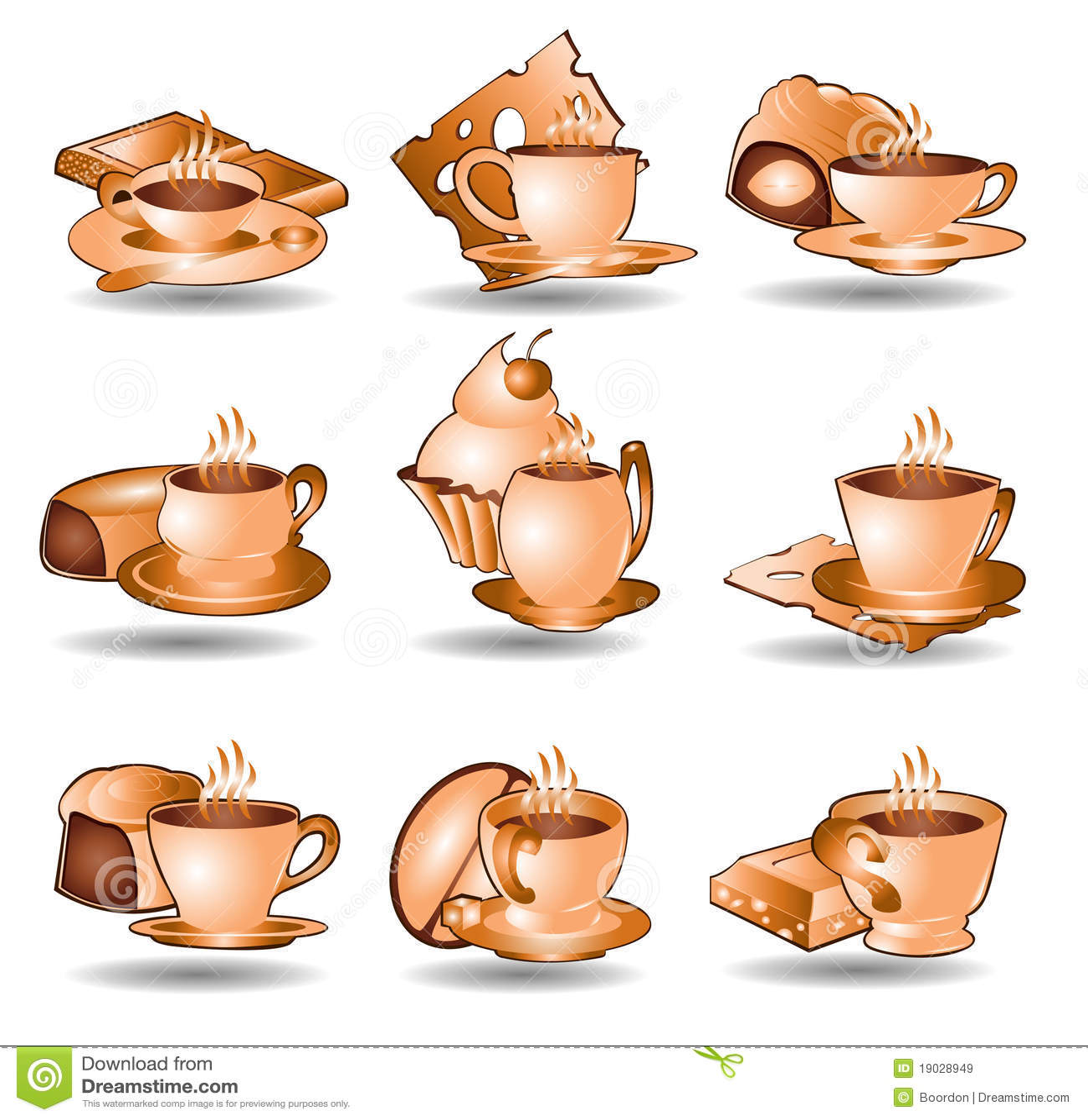 Coffee Tea Icon Web Collection Stock Vector Illustration