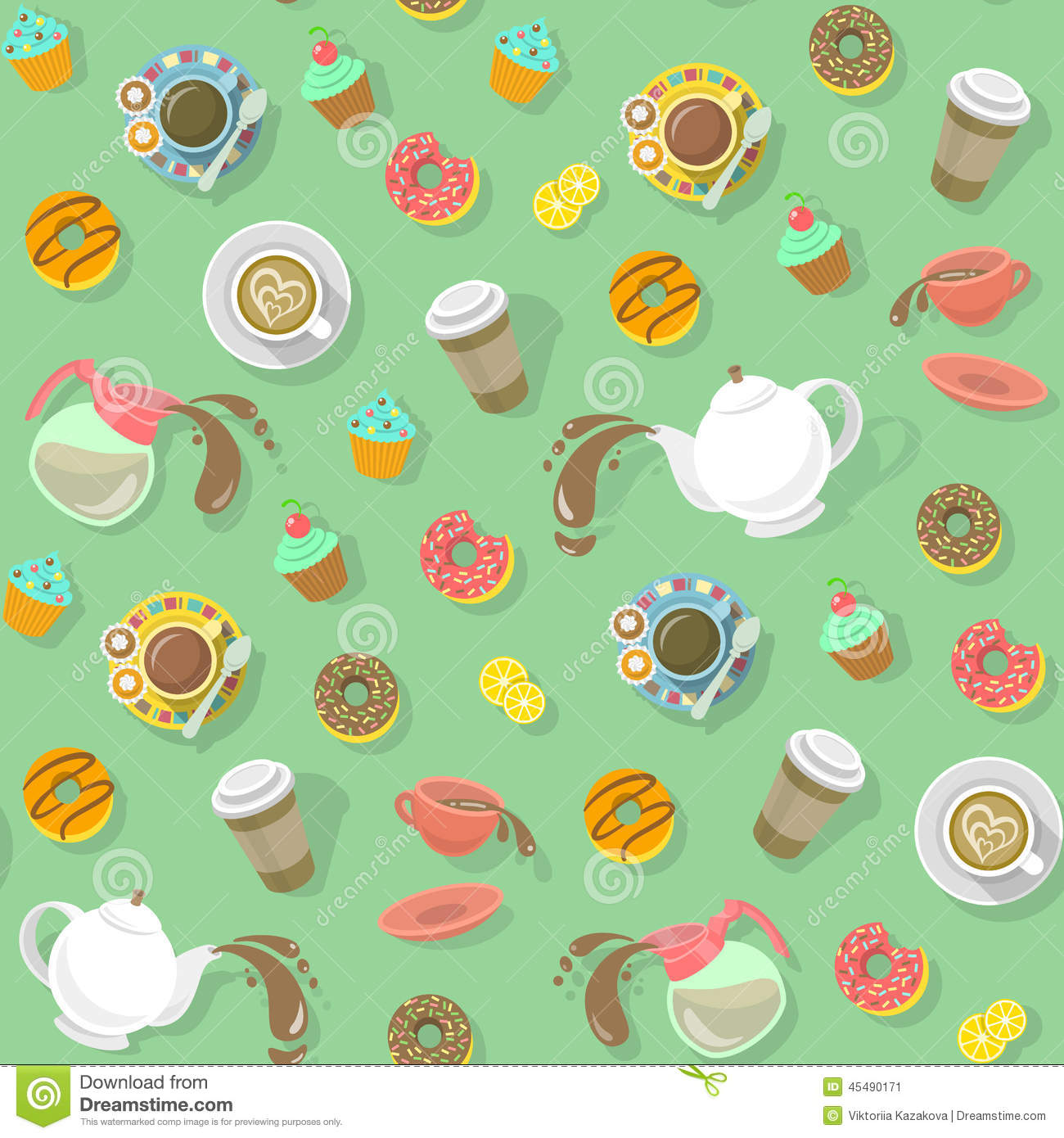 Coffee And Tea Pattern Stock Vector Illustration Of Cover