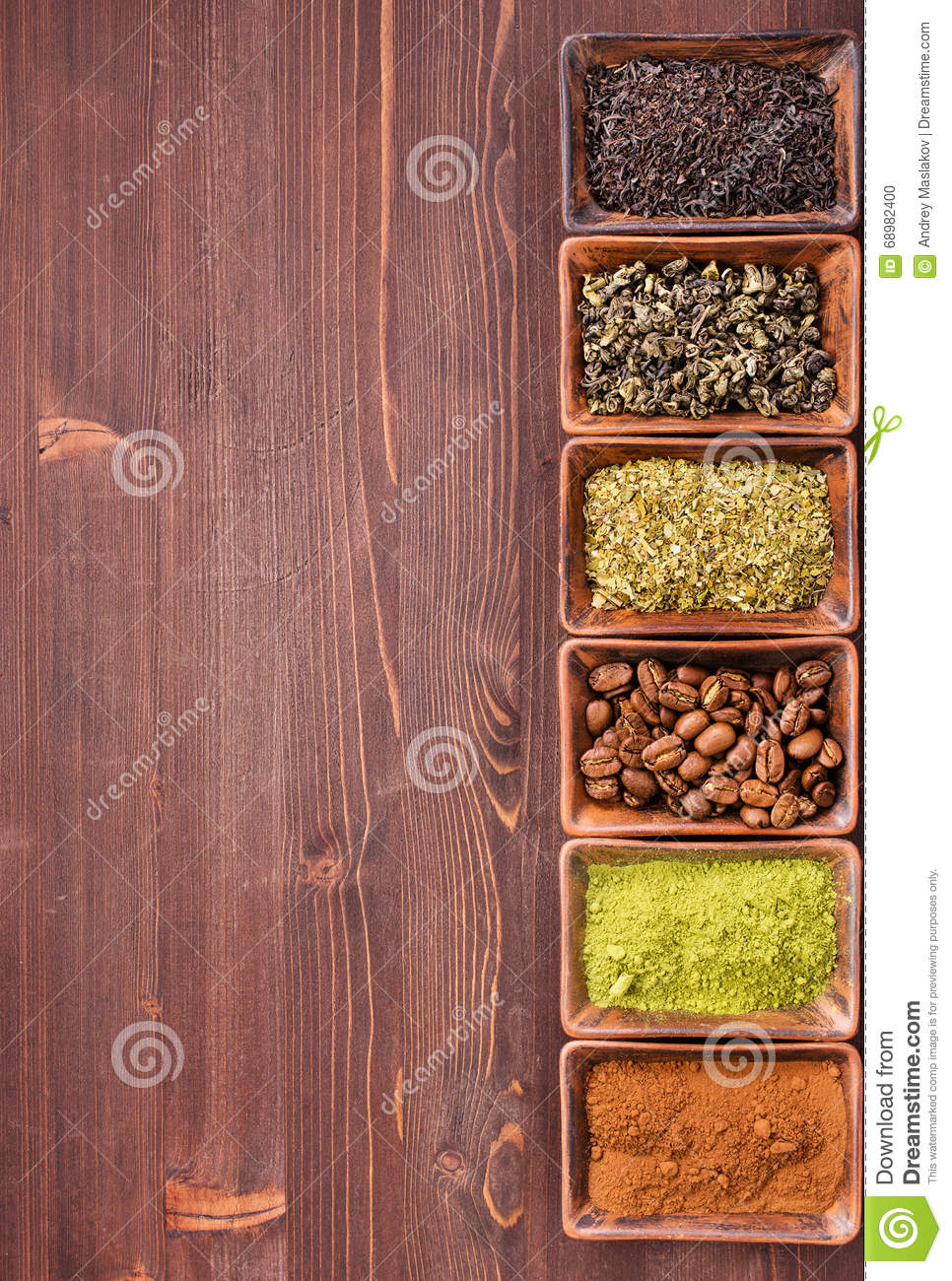 Coffee and tea from right border of wooden background