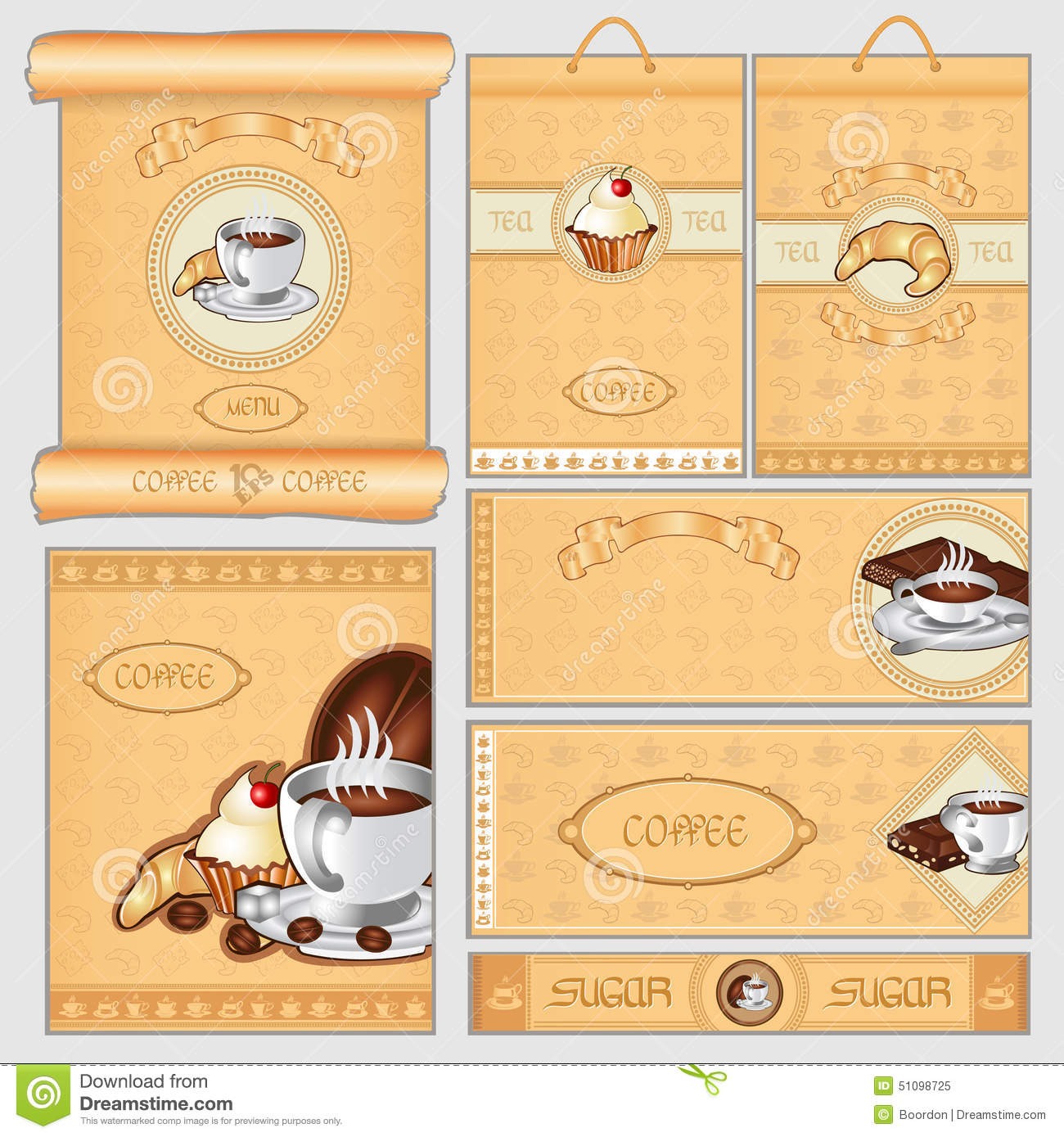Coffee Tea Sugar Cacke Pack Card Set Stock Vector
