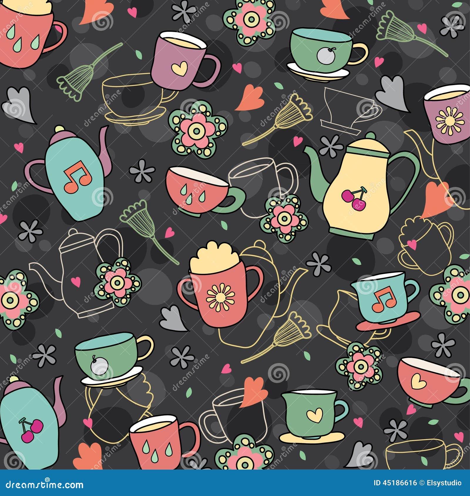 Coffee And Tea Wallpaper Design Stock Vector