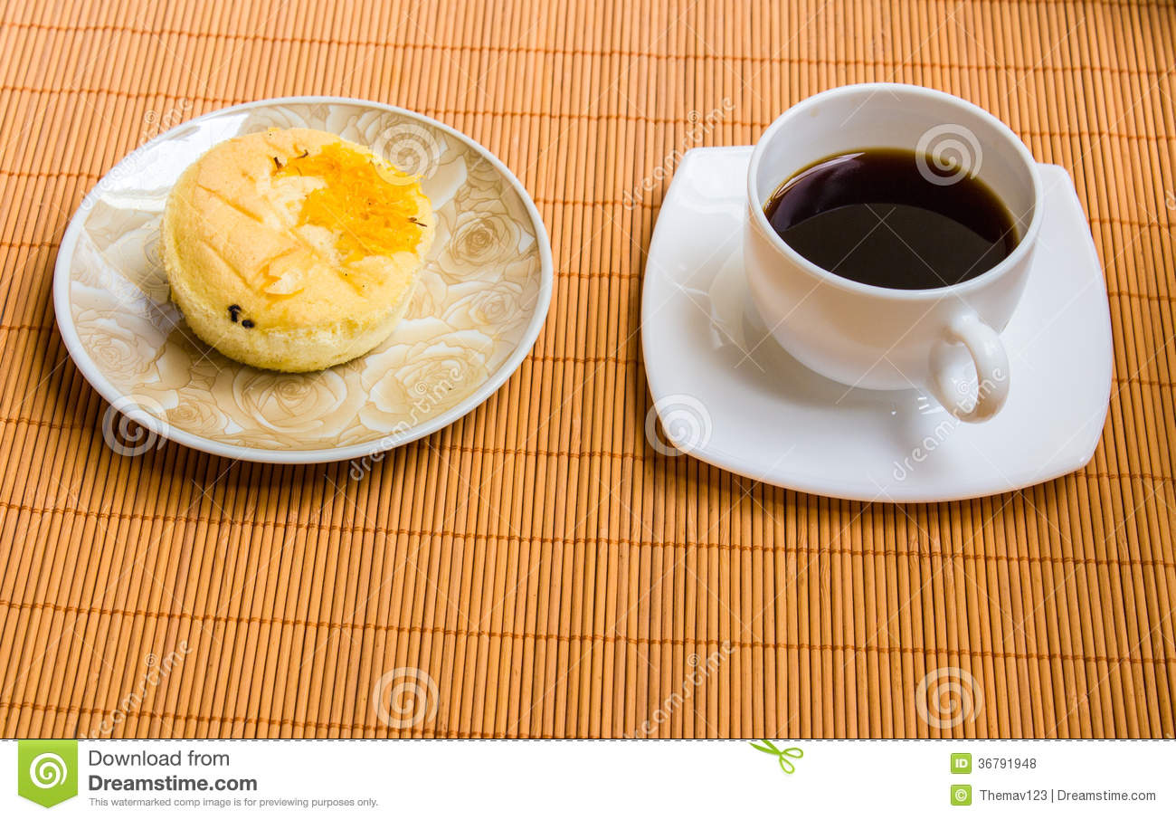Coffee and Thai style cake stock photo  Image of beauty