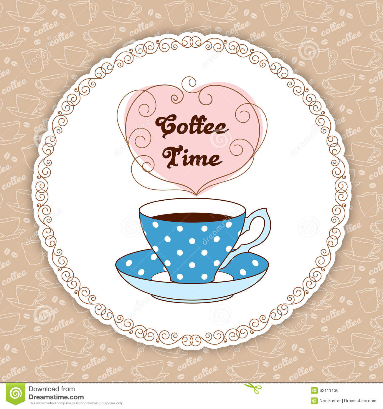 Coffee Time Card Stock Vector Image 62111136