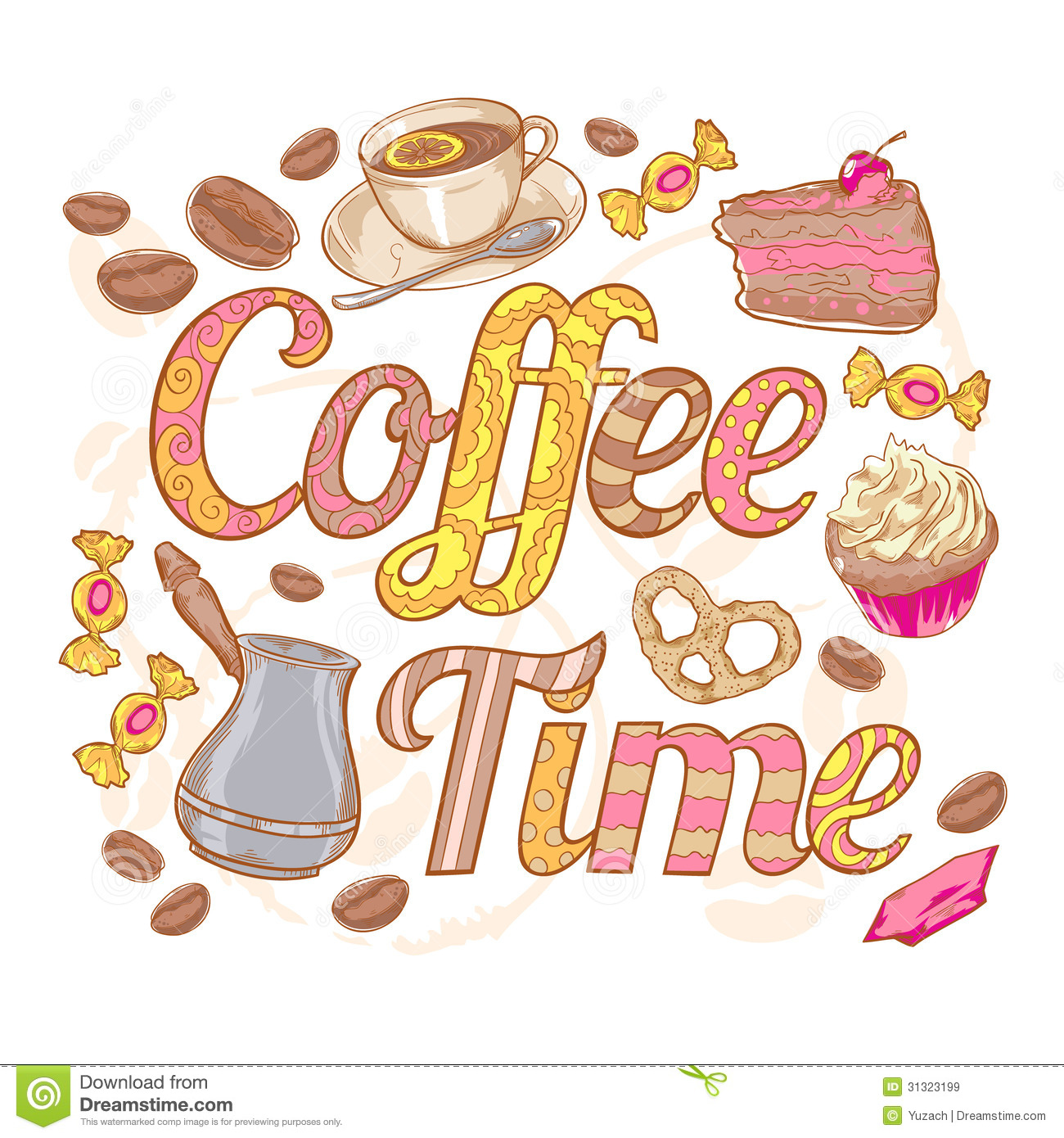 Coffee Time Colorful Invitation Card With Swirl Fo Stock ...