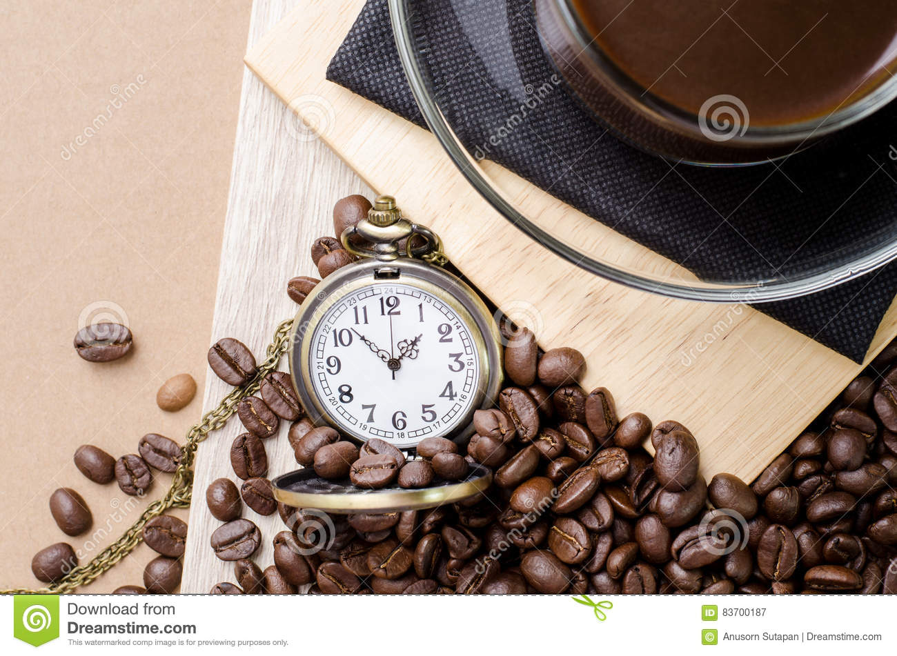 Coffee Time Concept With Vintage Pocket Watch On Coffee Beans Ba Stock Photo