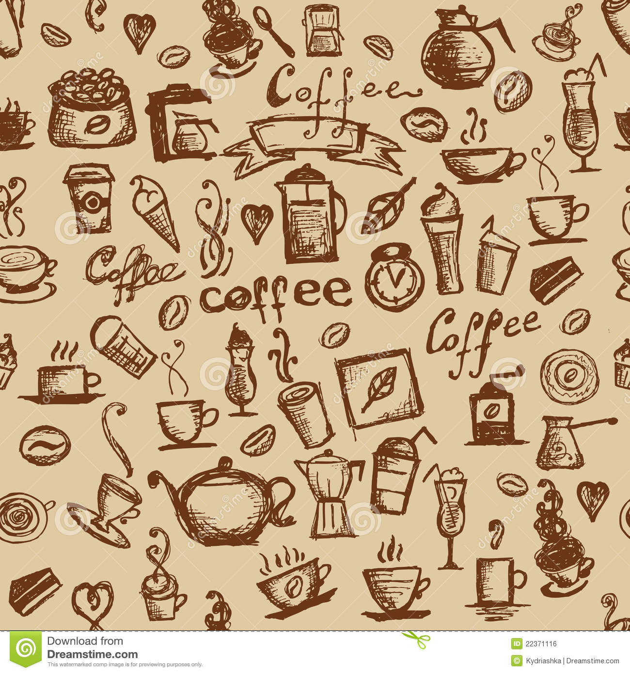 Coffee Time, Seamless Background For Your Design Stock