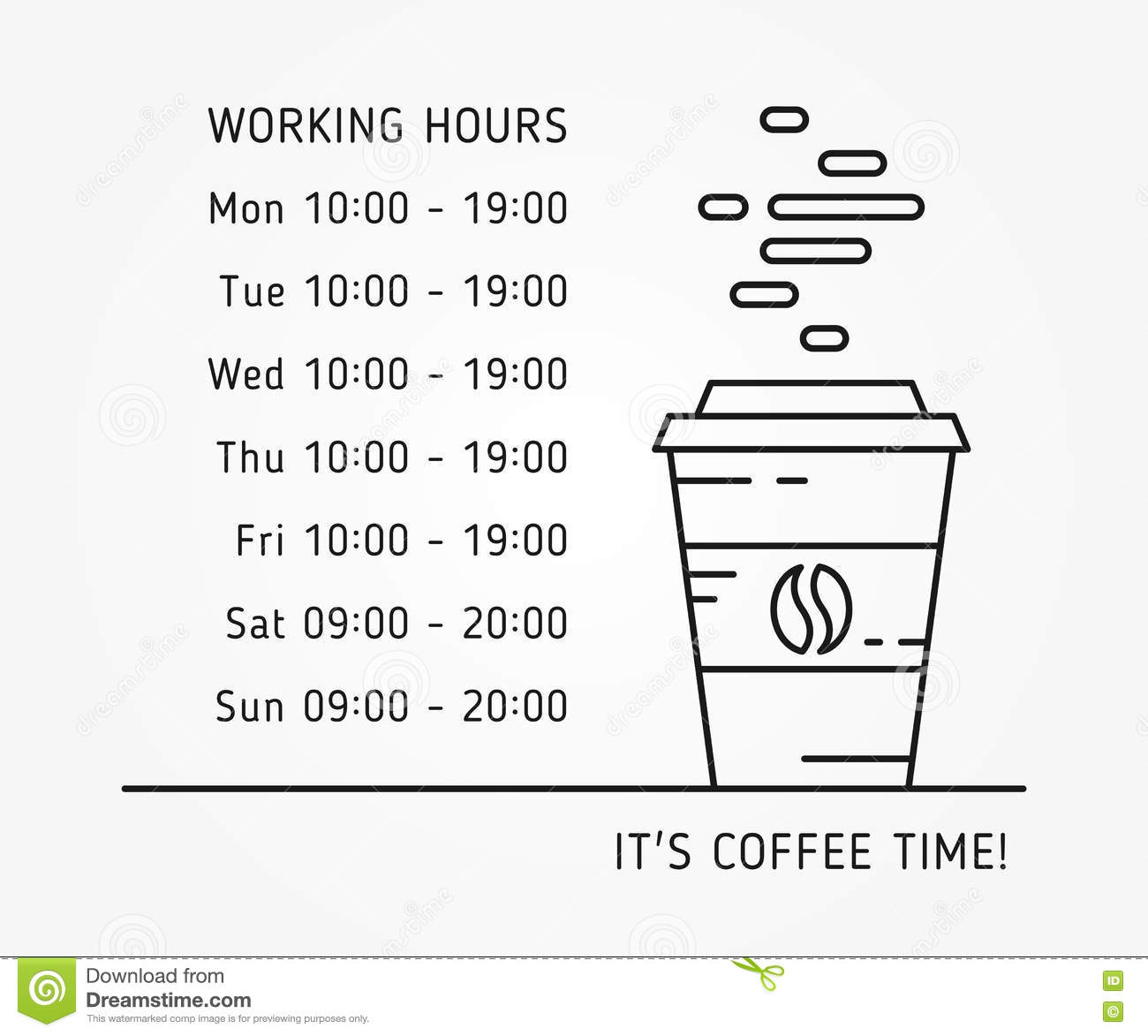 Coffee Time Working Hours Linear Vector Illustration Stock Vector ...