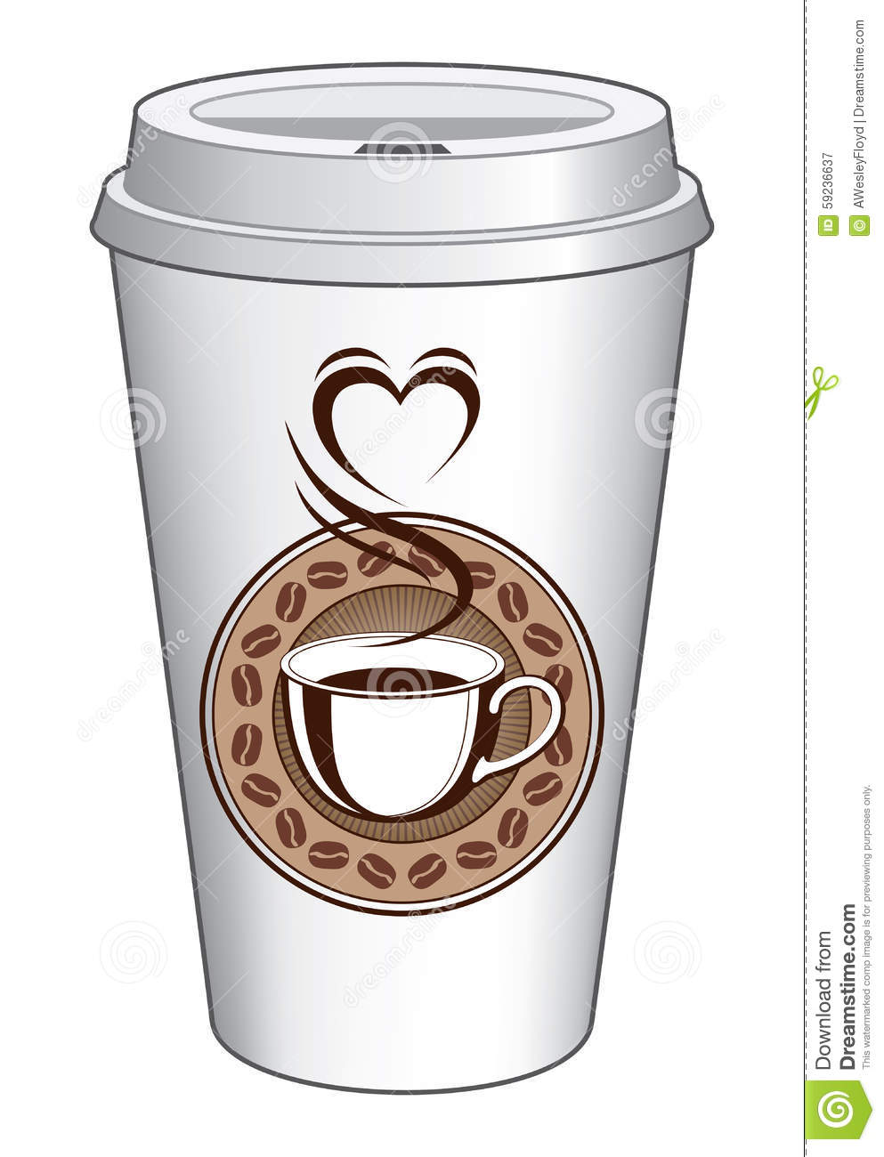 Coffee to go cup design with steaming heart stock vector for Coffee to go