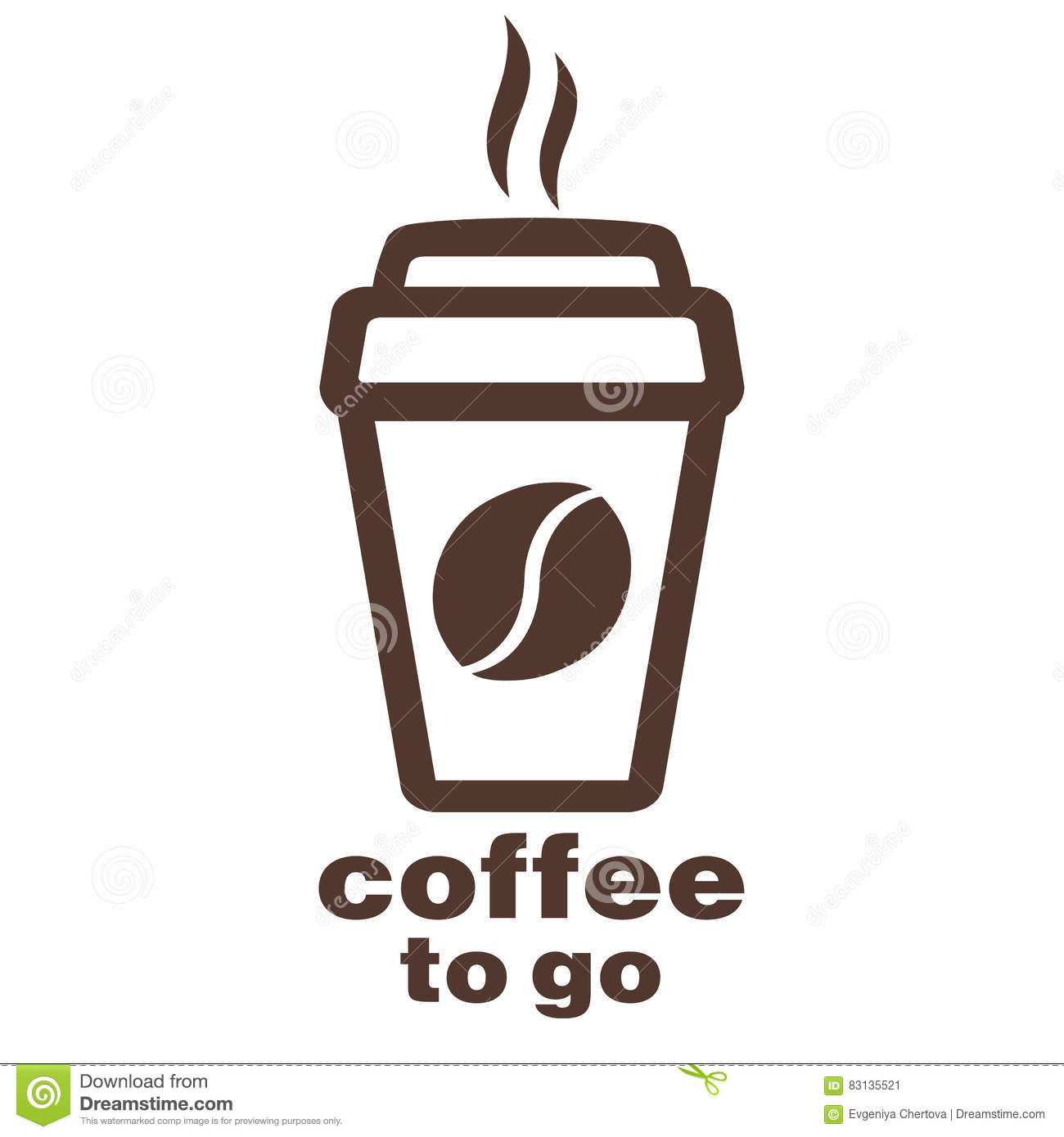Coffee to go sticker in the window vector logo web icon for Coffee to go