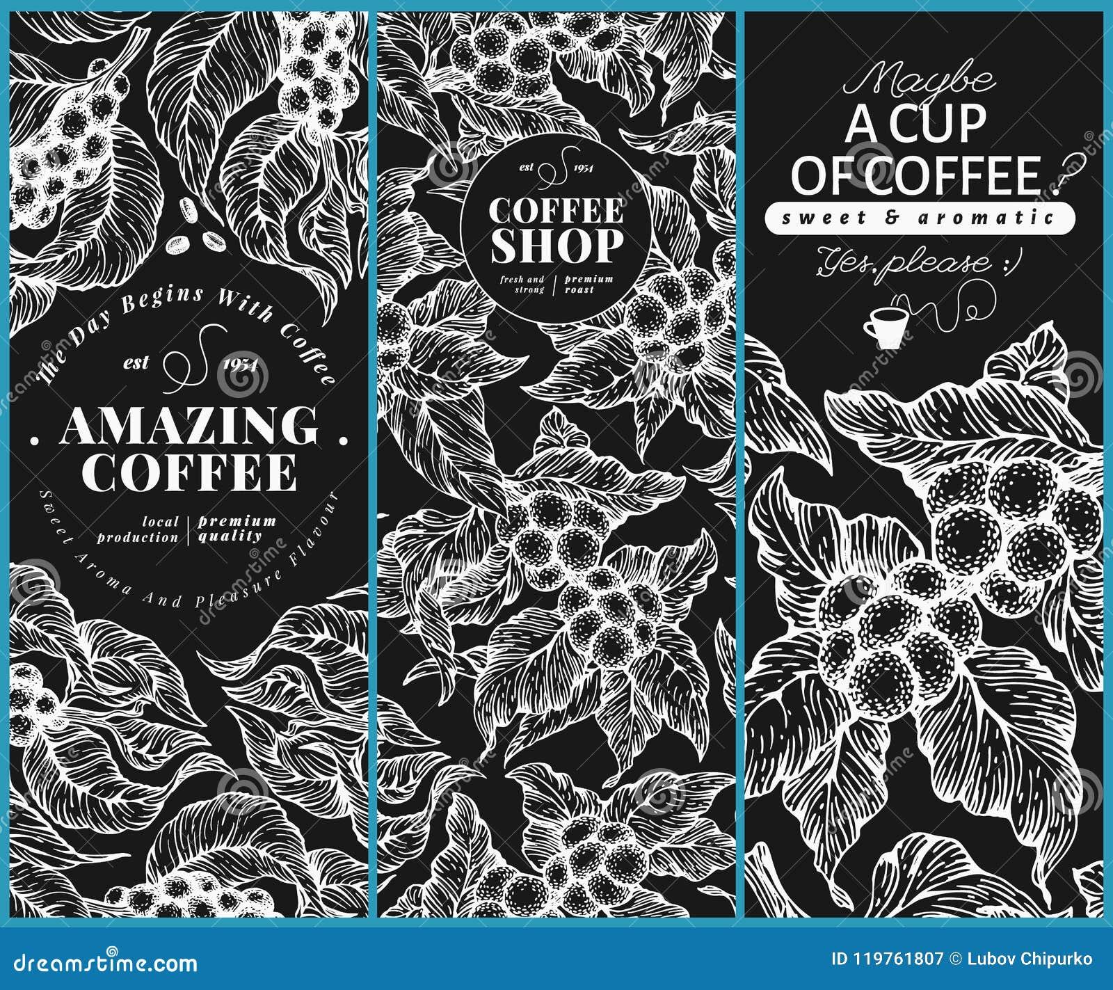 coffee tree banner templates vector illustration on chalk board